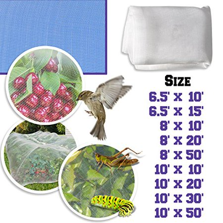 Sunrise Outdoor Garden Multi Sizes, Mosquito, Bug Insect, Bird Blocking Net, White 8' x 10'