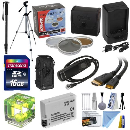 - Advanced Starter Kit for the Canon EOS Rebel T2i T3i T4i T5i DSLR Package includes Backpack 16Gb SD Memory card Extra LP-E8 Battery with Charger Opteka Tripod and Monopod and Much More!