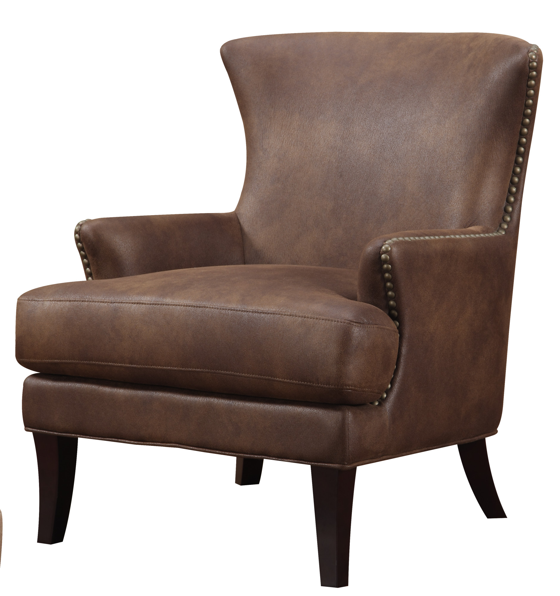 Emerald Home Nola Brown Accent Chair with Faux Suede Upholstery And Nailhead Trim