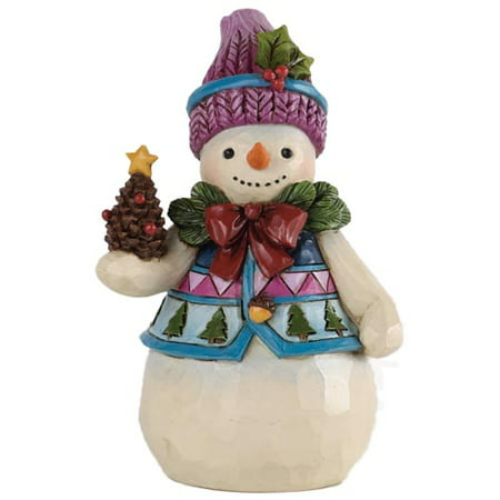 Christmas Snowman Figurine (Jim Shore Pinecones And Holly Pint Sized Snowman Christmas)