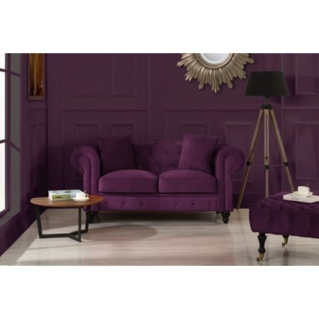 Classic Modern Scroll Arm Velvet Chesterfield Love Seat Sofa (Purple)