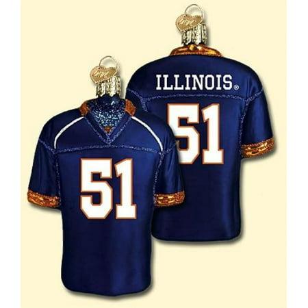 NCAA Illinois Fighting Illini Royal Blue #51 Glass Football Jersey Ornament