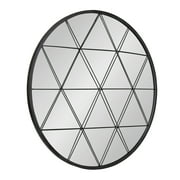 """Kate and Laurel Faber Round Accent Mirror - Decorative Wall Art With Geometric Overlay - Modern Decor For Living Room, Bedroom, Bathroom and Entryway - 31.5""""- Matte Black Finish"""