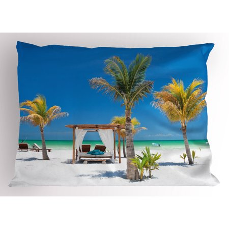 Tropical Pillow Sham Beach Beds among Palm Trees Paradise Coast Holiday Summer Ocean Sunbathing Picture, Decorative Standard Queen Size Printed Pillowcase, 30 X 20 Inches, Multicolor, by Ambesonne