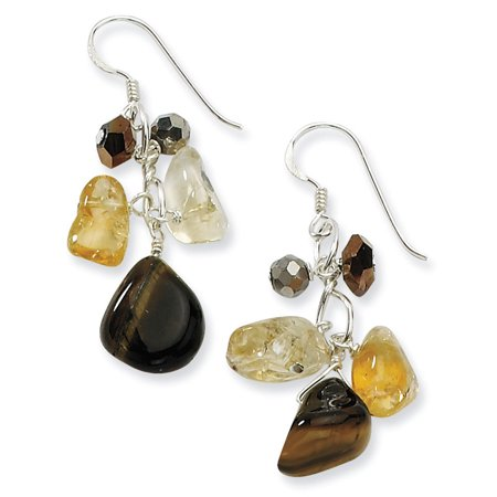 Citrine Tigers Eye Bracelet - Silver Citrine Crystal Tiger Eye Dangle Earring