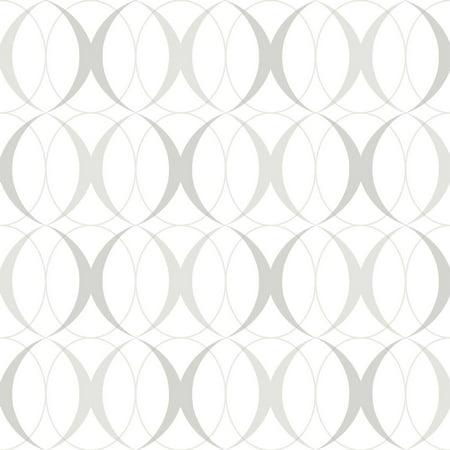 Circulate Light Silver Peel & Stick Wallpaper - Brewster