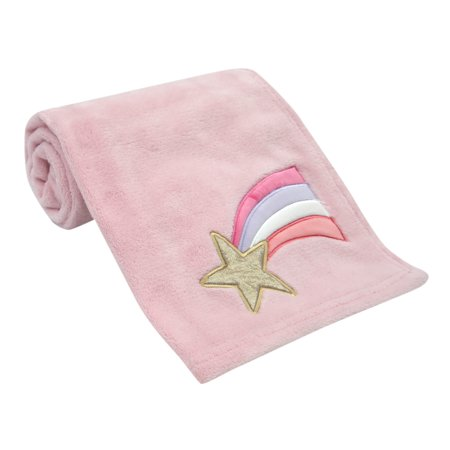 Bedtime Originals Rainbow Unicorn Soft Pink/Gold Shooting Star Baby Blanket