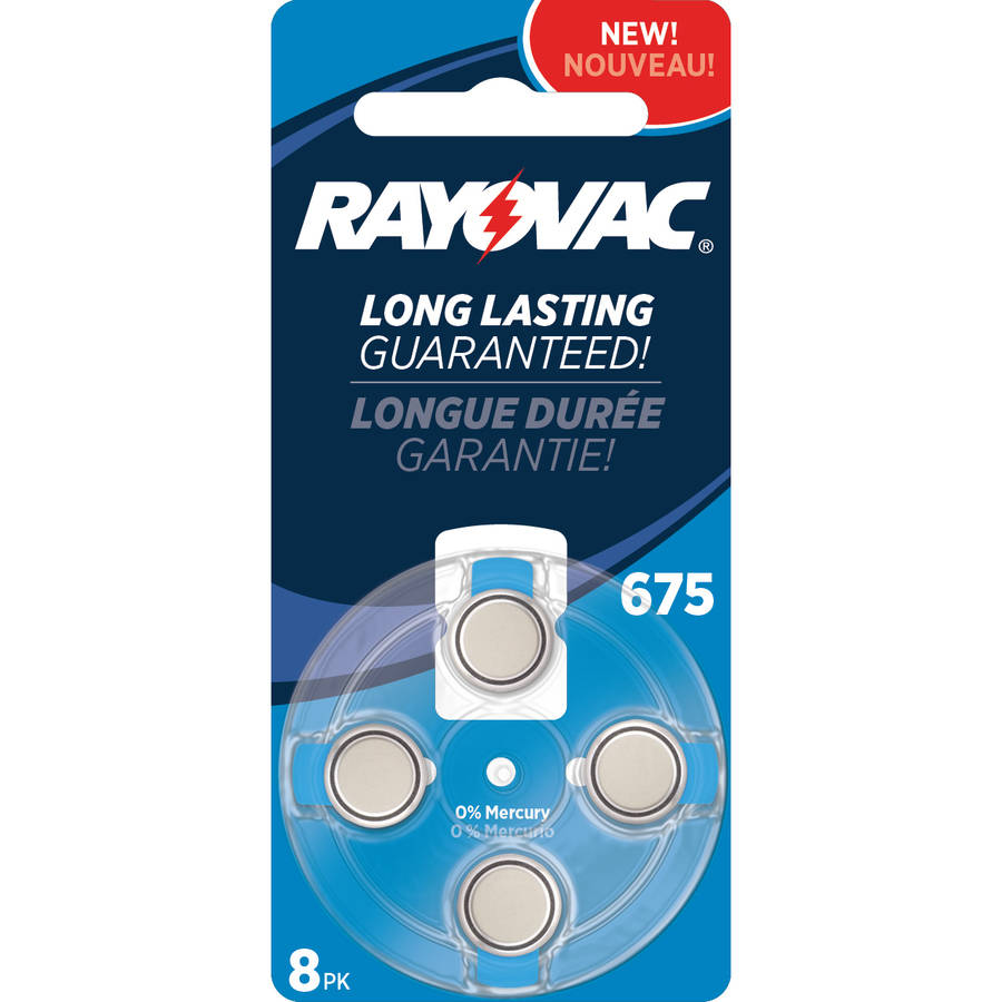 Rayovac Type 675 Hearing Aid Batteries, 8-Pack