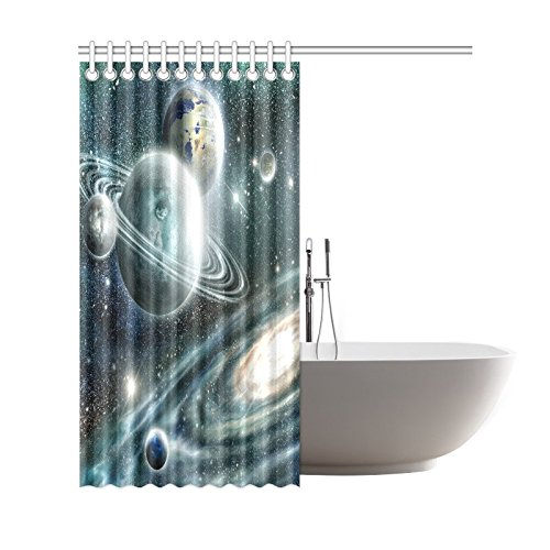 GCKG Solar System Space Planet Shower Curtain Galaxy Star Universe Polyester Fabric Bathroom Sets With Hooks 66x72 Inches