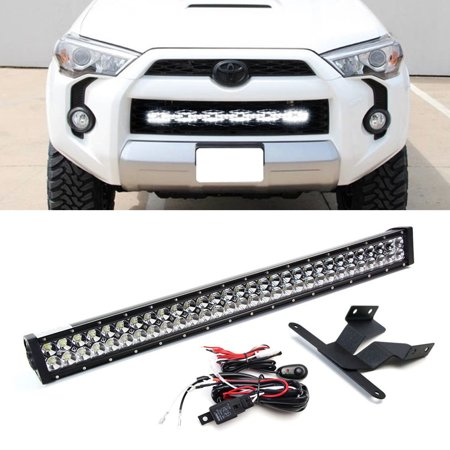 "iJDMTOY 30"" 180W High Power Double-Row LED Light Bar w/ Behind Grille Mounting Brackets and On/Off Switch Wiring Kit For 2014-2018 Toyota 4Runner (Excluding Limited)"