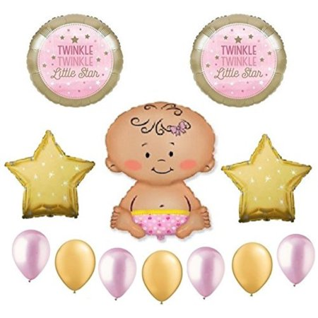 Twinkle Twinkle Little Star Baby Girl Shower Balloon Bouquet Decorating Kit 12 Piece Mylar and Latex Balloons Set Plus 1 66' (Baby Girl Balloon Bouquet)