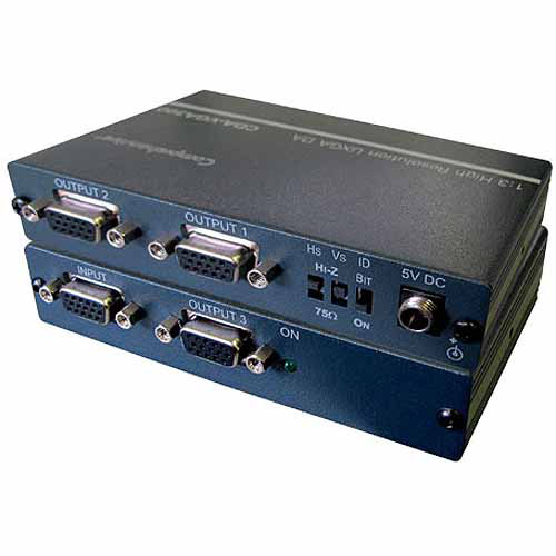 Comprehensive 1x3 VGA/XGA Distribution Amplifier with 400MHz, DC Coupling and ID Bit Control
