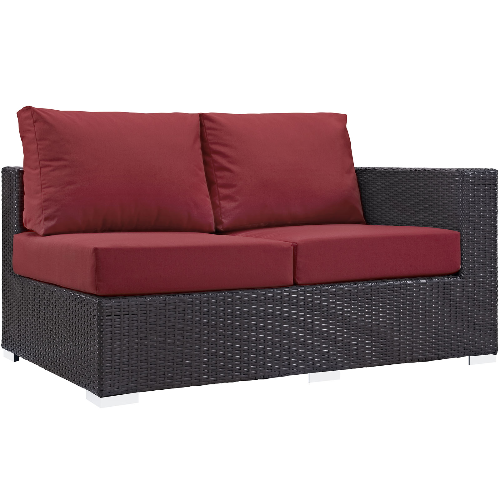 Modern Contemporary Urban Design Outdoor Patio Balcony Right Arm Loveseat Sofa, Red, Rattan