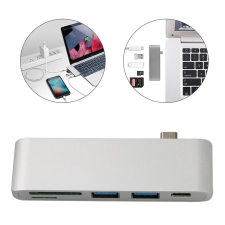USB C Hub Adapter , SD / Micro SD / CF card reader, TSV Type C Multi-port Hub USB 3.0 ports, , portable for MacBook Pro 2016/2017, Chromebook and other type C