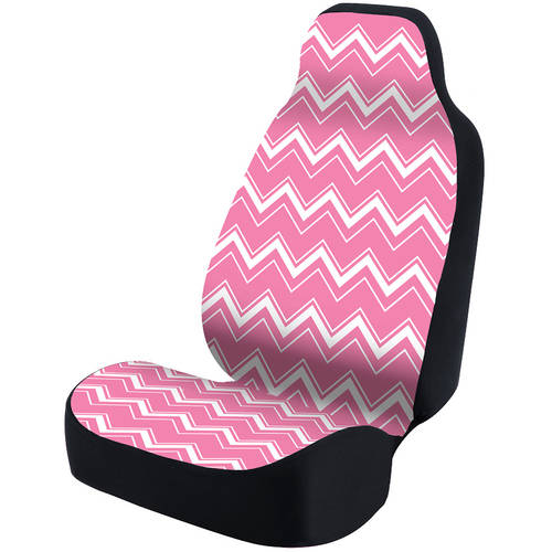 Coverking Universal Seat Cover Fashion Print, Ultra Suede, Chevrons White and Pink Background with Black Interlock Backing