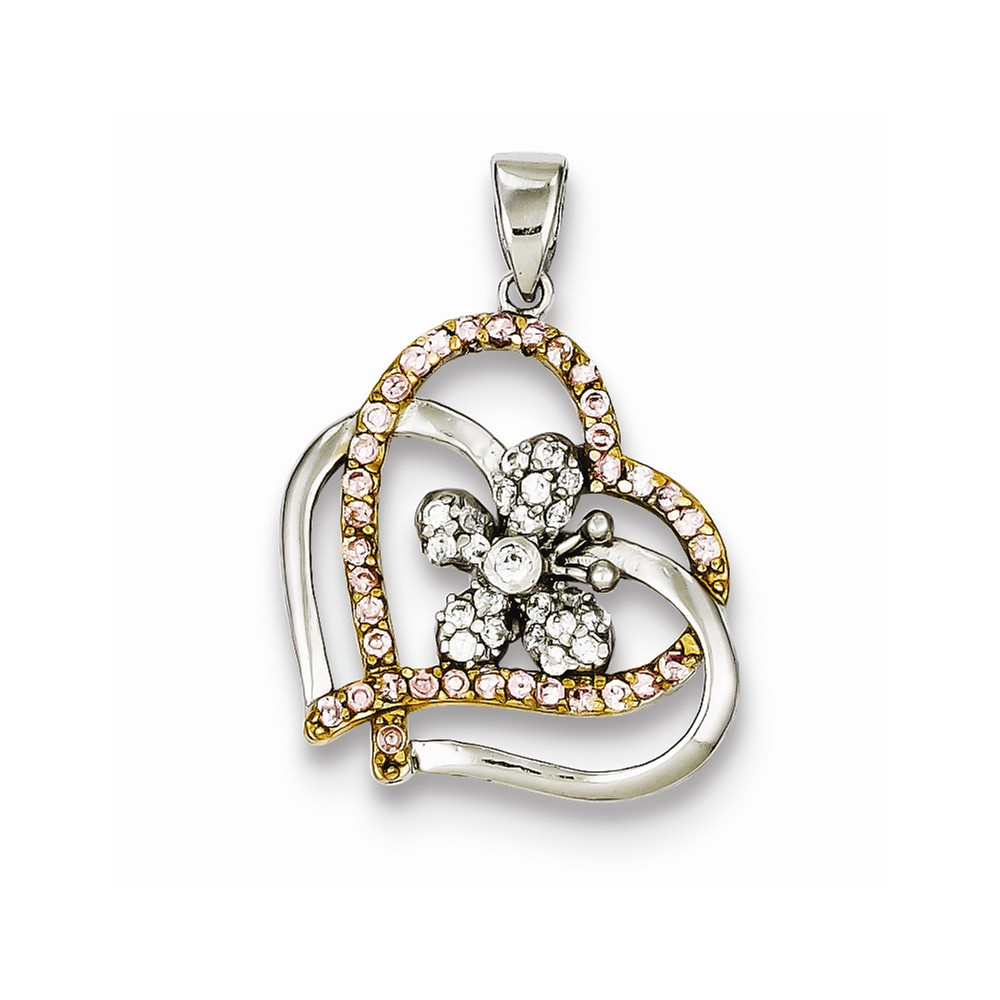 Sterling Silver Gold Plated Pink & Clear CZ Heart Flower Pendant