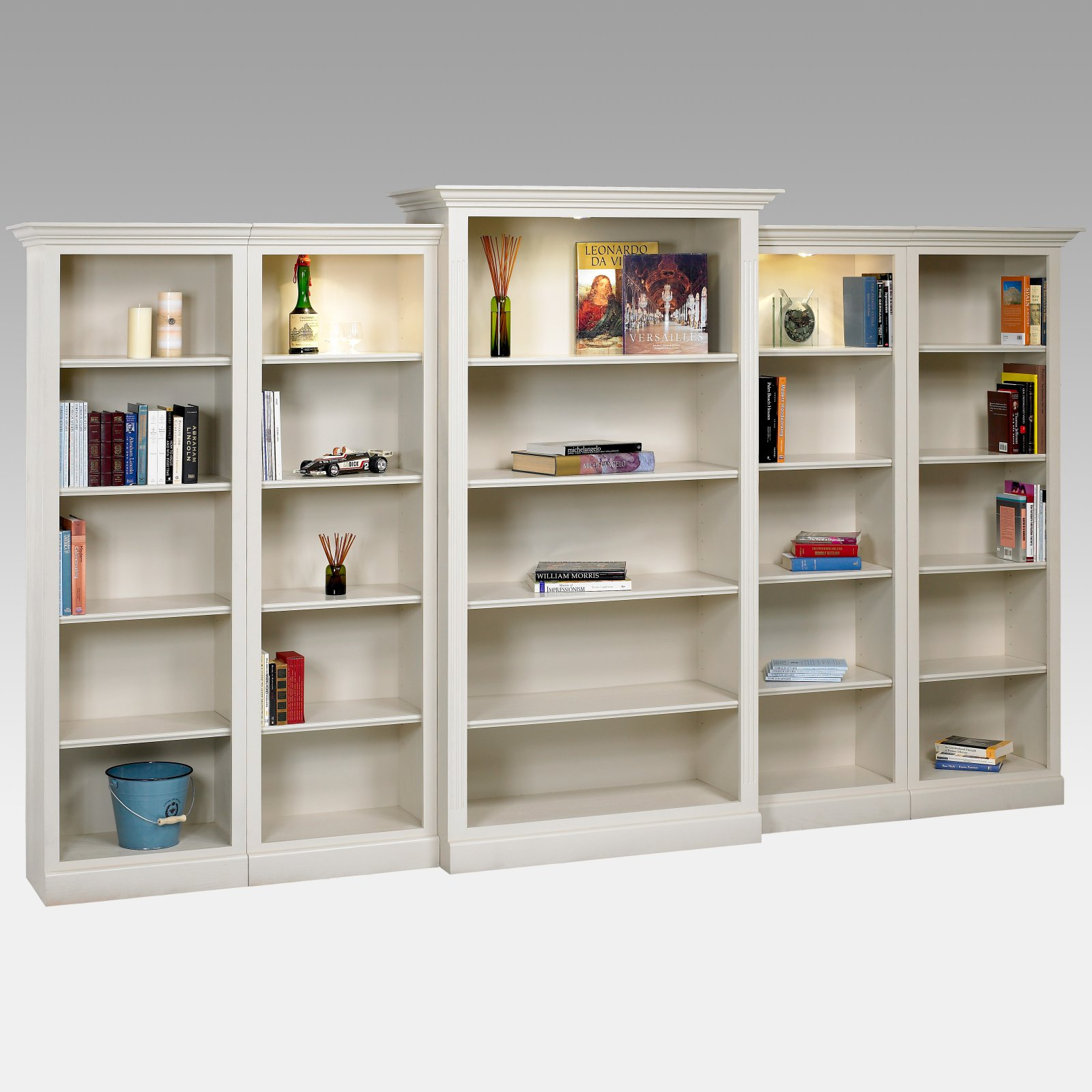 A & E Hampton 5 Piece Wall System Wood Bookcase
