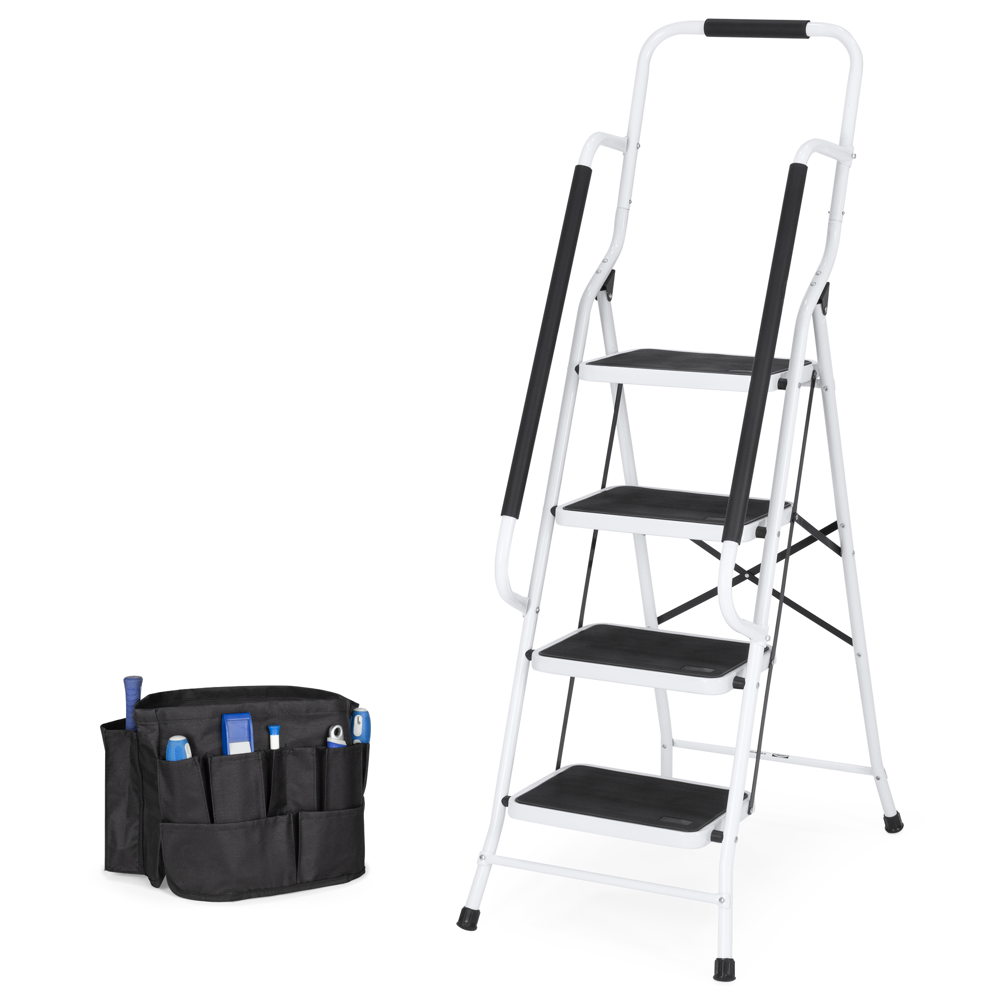 Best Choice Products 4-Step Portable Folding Anti-Slip Steel Safety Ladder w/ Padded Handrails, Attachable Tool Bag, Knee Rest - White