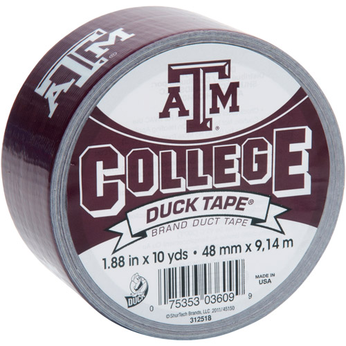"""Duck Brand Duct Tape, College Logo Duck Tape, 1.88"""" x 10 yard, Texas A&M Aggies"""