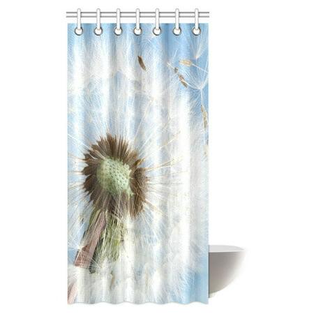 MYPOP Dandelions Shower Curtain Dandelion Seeds Blowing Away In The Wind Across A Clear Blue