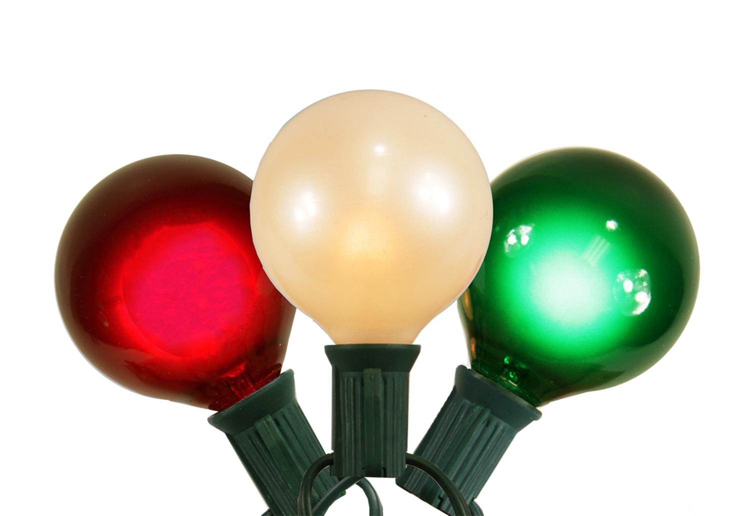 Set of 15 Red White and Green Satin G50 Globe Christmas Lights ...