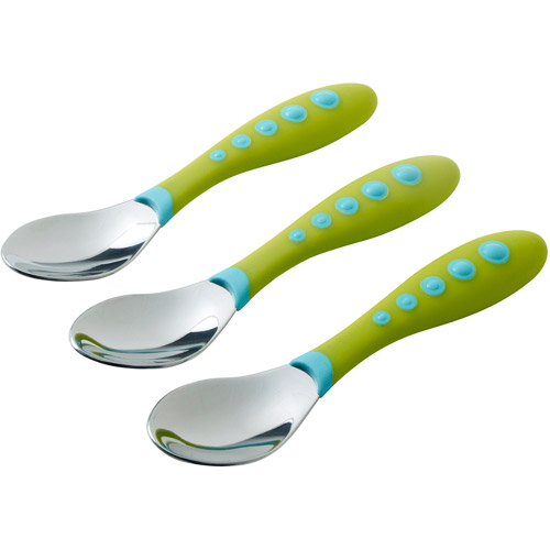 Gerber Graduates Kiddy Cutlery Spoons in Neutral Colors, BPA-Free, 3-Count