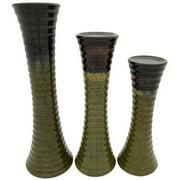 Entrada EN2891 3 Piece Ceramic Candle Holder - Olive Green