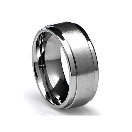 Mens Wedding Band in Titanium 10MM Ring with Flat Brushed Top and Polished Finish Edges