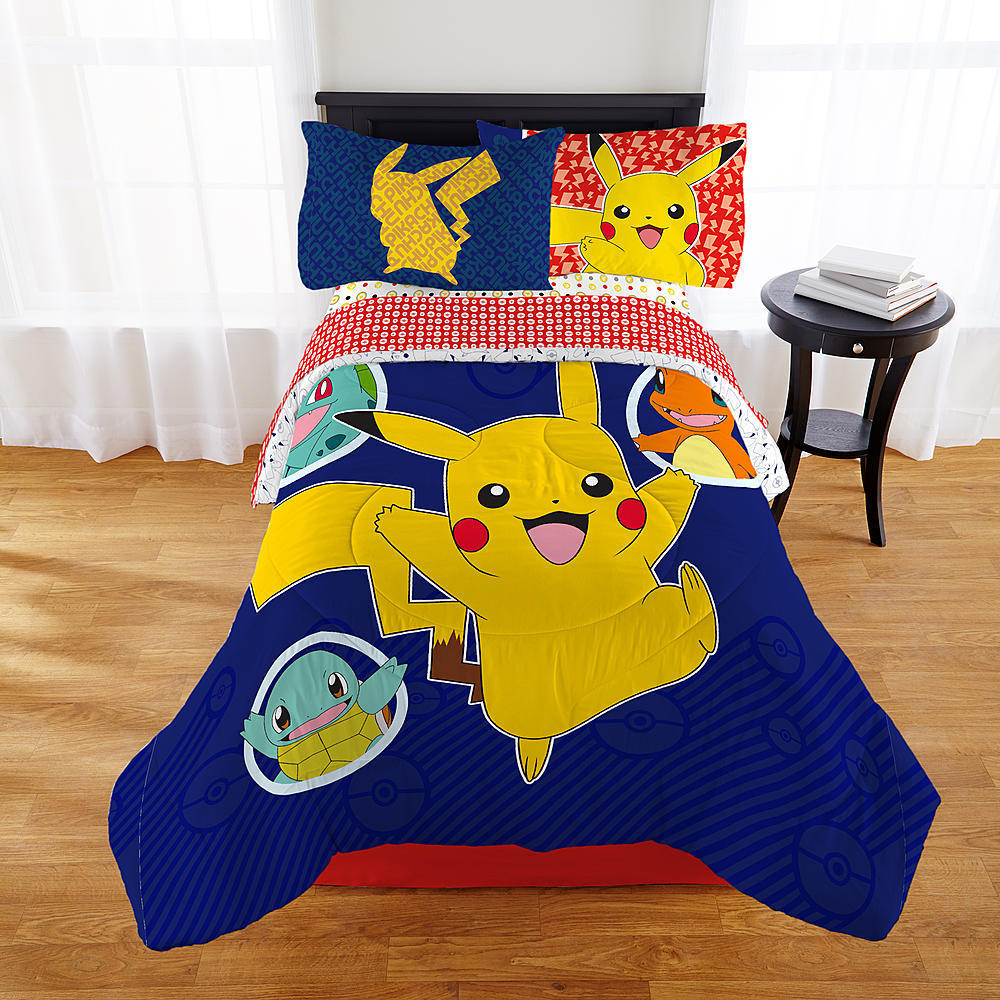 Pokemon Pikachu Twin Comforter & Sheets KM (4 Piece Bed In A Bag)