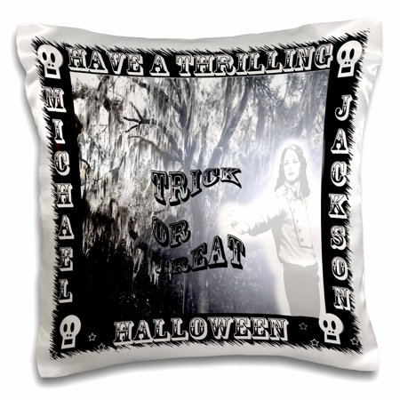 3dRose Michael Jackson Thriller Halloween Greeting - Pillow Case, 16 by (Michael Jackson Living With Michael Jackson Part 1)
