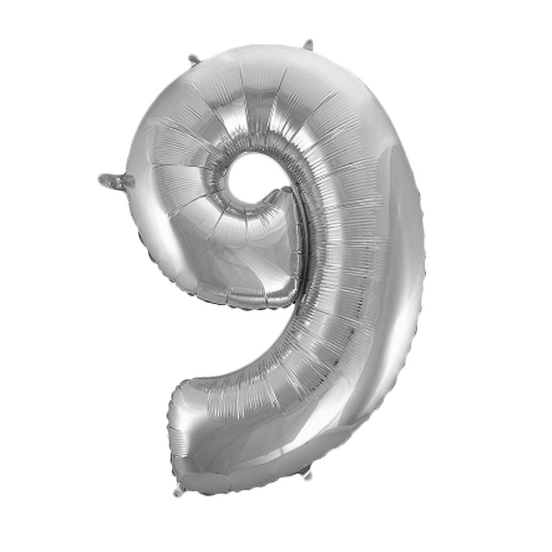 "Unique Bargains Foil Number 9 Shape Helium Balloon Birthday Wedding Decor Silver Tone 30"""