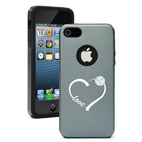Apple iPhone 6 6s Shockproof AS Aluminum & Silicone Hard Soft Case Cover Love Heart Volleyball (Silver Gray),Daylor