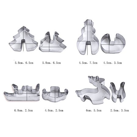 8Pcs Christmas Cookie Cutter Sets Stainless Steel Cake Biscuit Mould 3D Pastry Mold DIY Baking Tools
