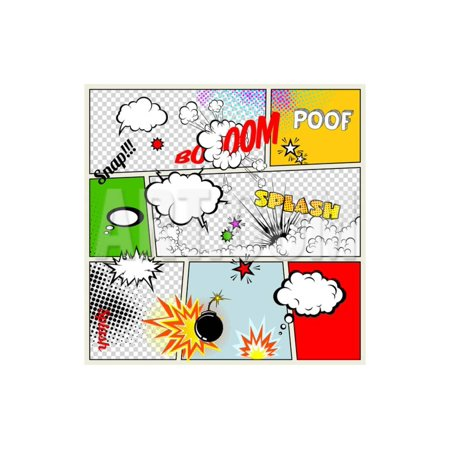 Grunge Retro Comic Speech Bubbles. Vector Illustration on Strip Background. Abstract Talking Clouds Print Wall Art By