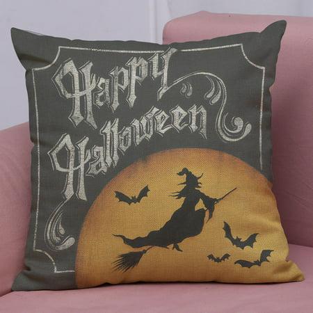 Happy Halloween Linen Throw Pillow Case Cushion Cover Home Sofa Decor New E - Happy Halloween Song Mp3