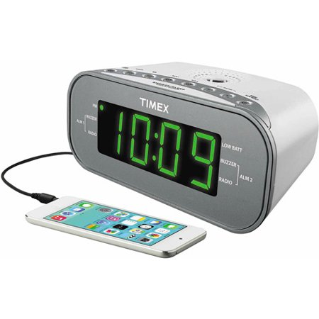 timex dual alarm clock am fm radio white. Black Bedroom Furniture Sets. Home Design Ideas