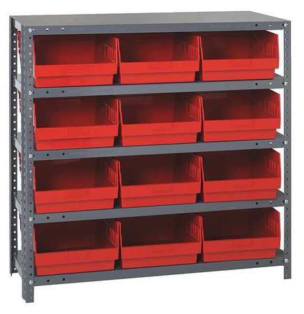 Bin Shelving,Solid,36X12,12 Bins,Red QUANTUM STORAGE SYSTEMS 1239-209RD