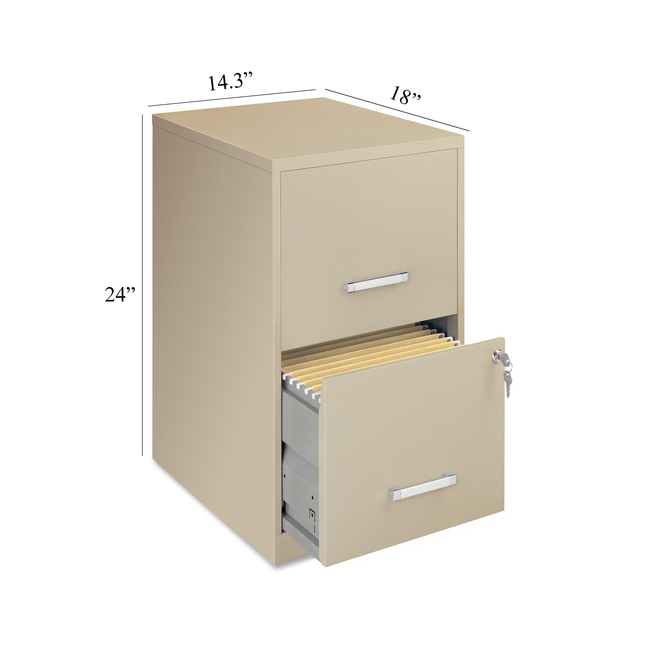 Lorell Soho 18 2 Drawer File Vertical Cabinet With Lock Putty