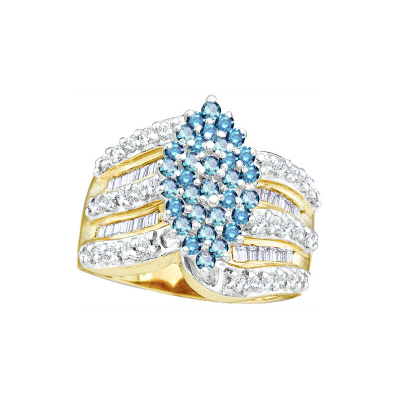 10K Yellow Gold 1.00ctw Glamorous Pave Blue Diamond Cluster Marquise Ring