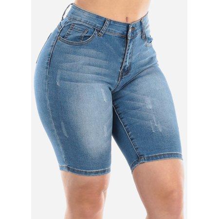 Womens Juniors Classic Casual Mid Rise 1 Button Med Wash Butt Lifting Push Up Levanta Cola Denim Bermuda Shorts 10236Z