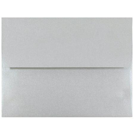 JAM Paper A2 Invitation Envelope, 4 3/8 x 5 3/4, Silver Stardream Metallic,