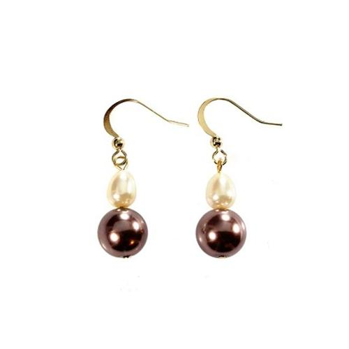 Alexa Starr 4772-EP-NAT Natural Colored Baroque Pearl Double Drop Earrings