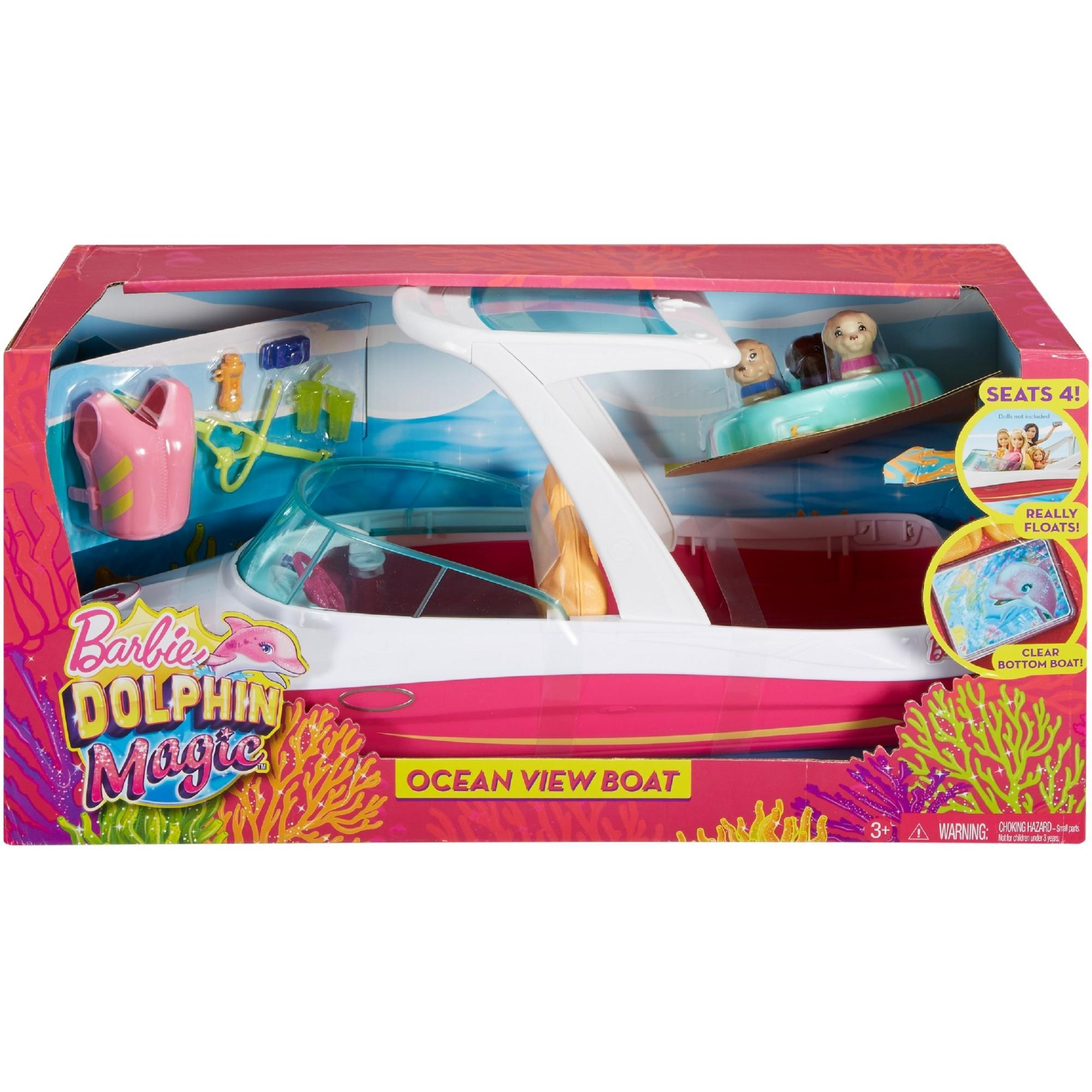 Barbie Dolphin Magic Ocean View Boat With 3 Puppies Accessories