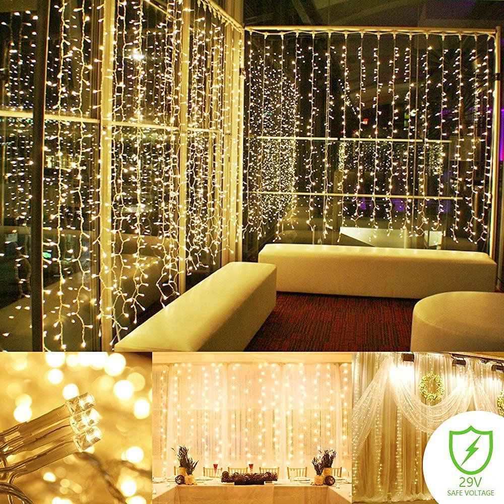 Zimtown 300-LED Patio Curtain String Lights,9.8ft x 9.8ft Romantic ...