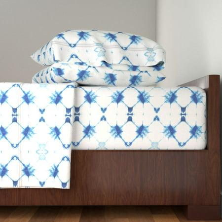 Indigo Shibori Modern Nautical Boho Tie 100% Cotton Sateen Sheet Set by Roostery