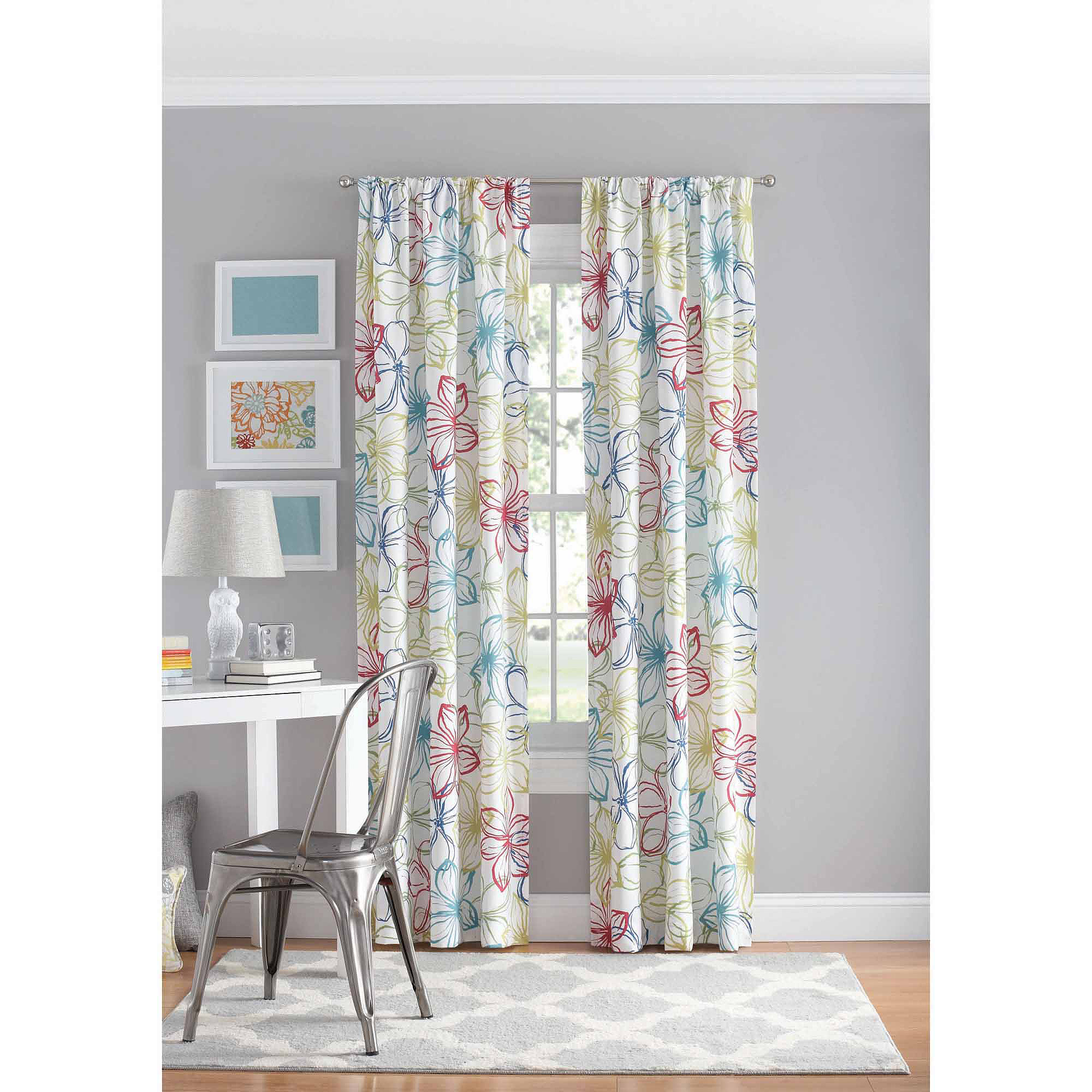 your zone floral polyester curtain panel