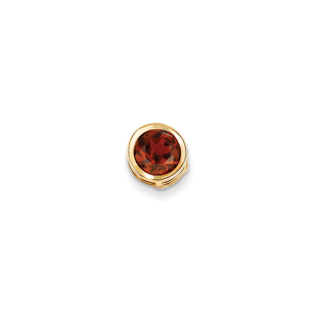 14k Yellow Gold 7mm Garnet bezel pendant. Gem Wt- 1.65ct