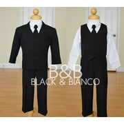 Little Boys Black Suit Complete Outfit with Tie