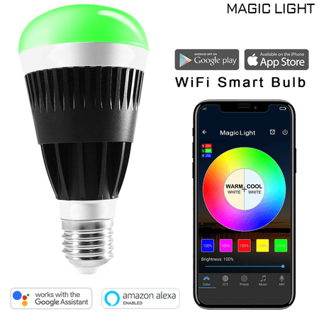 MagicLight Wifi Pro Color Smart A19 Light Bulb + Voice Control, 80W  Equivalent, No Hub Required