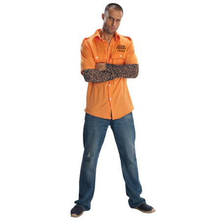 Orange Convict Costume (Mens Prisoner Costume Robber Thief)